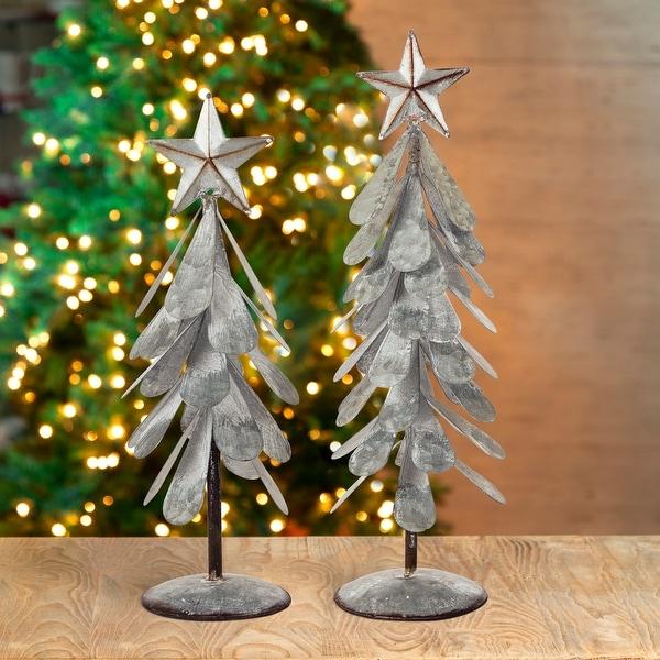 Glitzhome Galvanized Metal Christmas Table Tree Decor