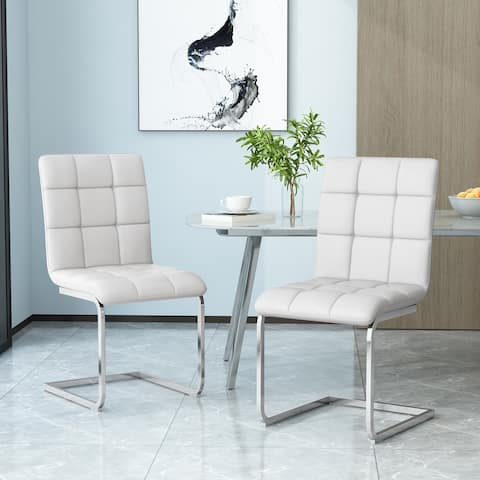 Vess Modern Upholstered Waffle Stitch Dining Chairs (Set of 2) by Christopher Knight Home