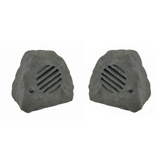 Set of 2 Weather Resistant Outdoor Rock Shaped 2 Way Speakers 8 in.