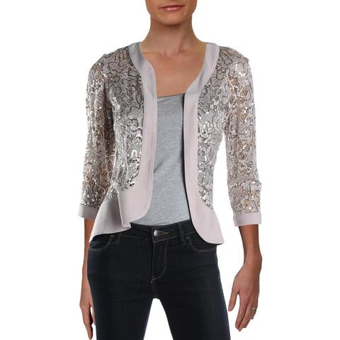 R&M Richards Womens Open-Front Blazer Lace 3/4 Sleeves