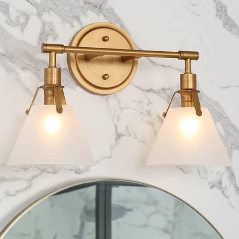 Modern Gold Frame Frosted Glass 3-light Bathroom Vanity Lights Wall Sconces