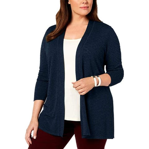 Charter Club Women's Sweater Navy Blue Size 3X Plus Knit Cardigan