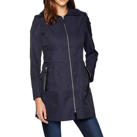 Via Spiga Womens Trench Coat Navy Blue Size Large L Ful-Zip Hooded
