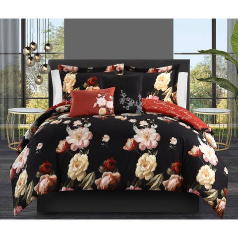 Chic Home Ethel 9 Piece Floral Bed in a Bag Reversible Comforter Set
