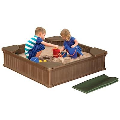 Modern Home Weather Resistant Outdoor Sandbox Kit (4 feet wide x 4 feet long)
