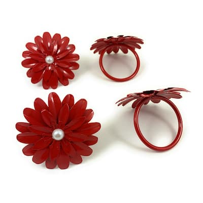 """VIBHSA Floral Napkin Rings Set of 4 (Red Pearl, 2"""")"""