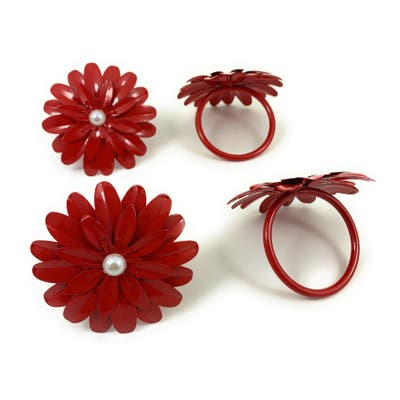 Vibhsa Flower Napkin Rings Set of 4 (Red Pearl)
