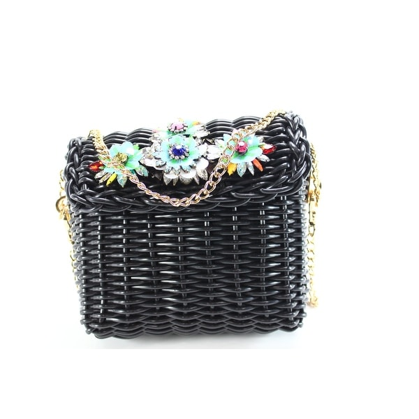 Betsey Johnson New Black Basket Case Small Woven Crossbody Handbag