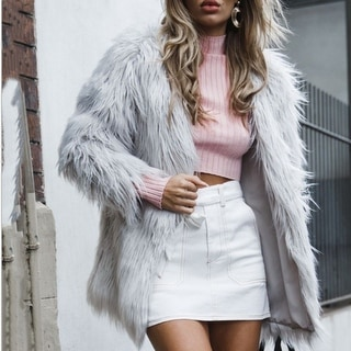Women's Faux Fur Coat Solid Color Long Sleeve  Jacket
