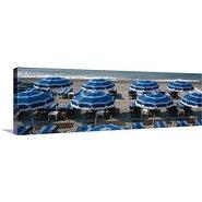 Premium Thick-Wrap Canvas entitled Beach umbrellas on the beach, Nice, Alpes Maritimes, Provence Alpes Cote dAzur,