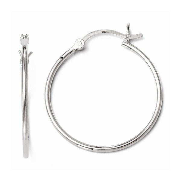 Sterling Silver Polished Hinged Hoop Earrings