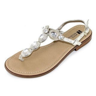 White Mountain Womens Glow Split Toe Casual T-Strap Sandals
