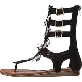 Carlos by Carlos Santana Womens Taos Faux Suede Beaded Gladiator Sandals - 7 medium (b,m)