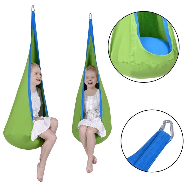 Costway Child Pod Swing Chair Tent Nook Indoor Outdoor Hanging Seat Hammock Kids Green