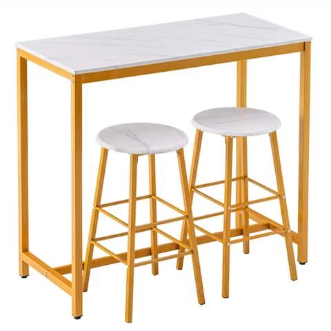 Simple Bar Table Round Bar Stool Golden Paint Dining Set