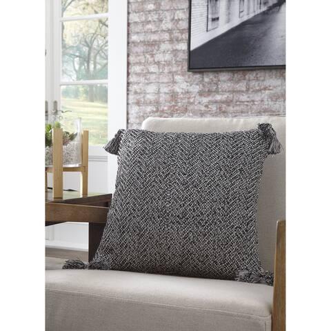 RiehL Modern Farmhouse Black Woven Tassle Pillow