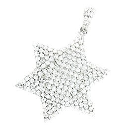 Star David Pendant 24mm Tall Sterling Silver CZ Pave Set 6 Point Star