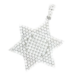 Star David Pendant 24mm Tall Sterling Silver CZ Pave Set 6 Point Star By MidwestJewellery