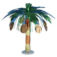 "Club Pack of 12 Metallic Coconut Tree Mini Foil Luau Party Centerpieces 10.5"""
