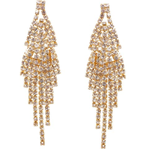 Humble Chic Darling Waterfall Tassel Earrings Layered CZ Simulated Diamond Statement Studs