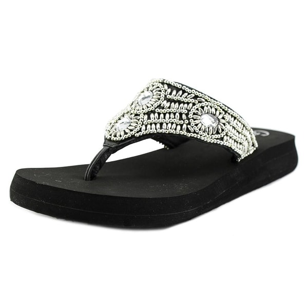 Grazie Cachet Women Open Toe Leather Black Flip Flop Sandal