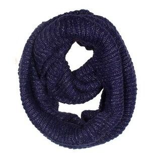 Women's Neck Wrap Warmer Knit Metallic Infinity Loop Scarf - Navy