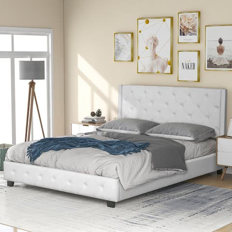 [Pre Sale]Queen Upholstered Platform Bed,No Boxing Spring Needed,Beige