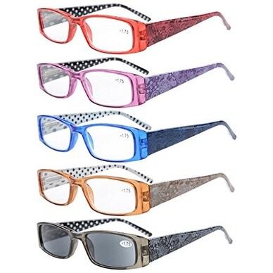 Eyekepper 5-Pack Spring Hinges Polka Dots Patterned Temples Rectangular Reading Glasses+2.25
