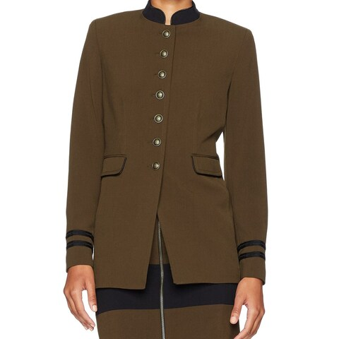 Nine West Deep Green Womens Size 14 Stand-Collar Stretch Jacket