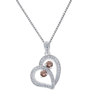Sterling Silver Heart Pendant Brown 2 Solitaire Cubic Zircon Forever Us Necklace