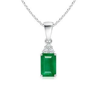 Angara Prong Set Emerald Cut Emerald Pendant with Diamond - Green/White