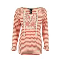 Style & Co. Women's Linen Blend Embroidered Peasant Top - cool melon