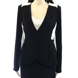 Pure Sugar NEW Black White Womens XS Faux-Leather-Trim Textured Blazer