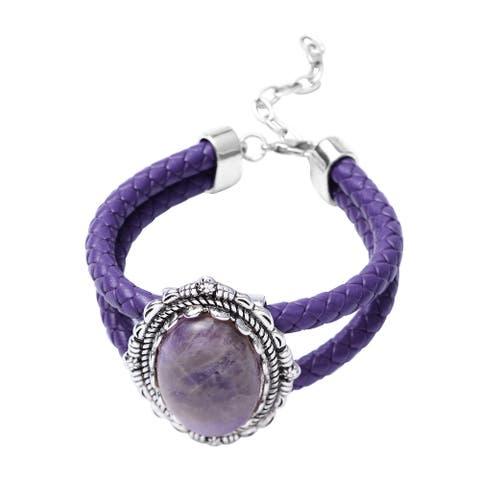 Shop LC Silvertone Amethyst Adjustable Bracelet Ct 60