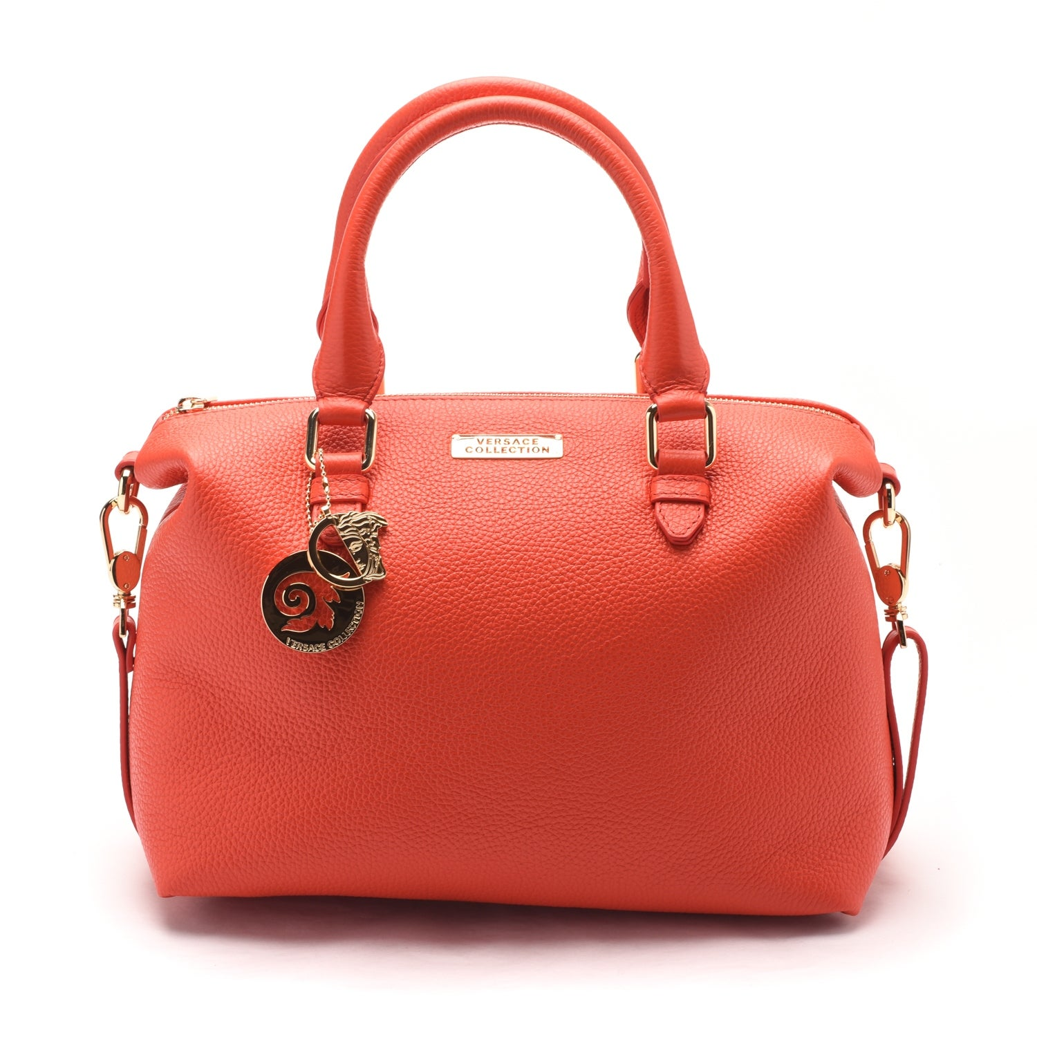 Versace Collections Women Pebbled Leather Top Handle Shoulder Handbag Satchel Red - M - Thumbnail 0