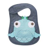 Navy and Teal Fish Baby Boy or Girl Toddler Bib Cloth Chambray Appliqued
