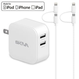 Skiva PowerFlow 2-Port Dual USB SmartIC Wall Charger with 2 units of 3.2ft Apple MFi Certified 2-in-1 Lightning/microUSB Cables