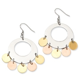 Chisel Stainless Steel and Gold and Rose Color IP-plated Fancy Dangle Earrings