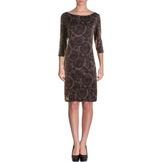 Nine West Womens Printed Metallic Wear to Work Dress