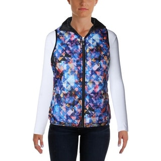 Trina Turk Womens Reversible Printed Outerwear Vest