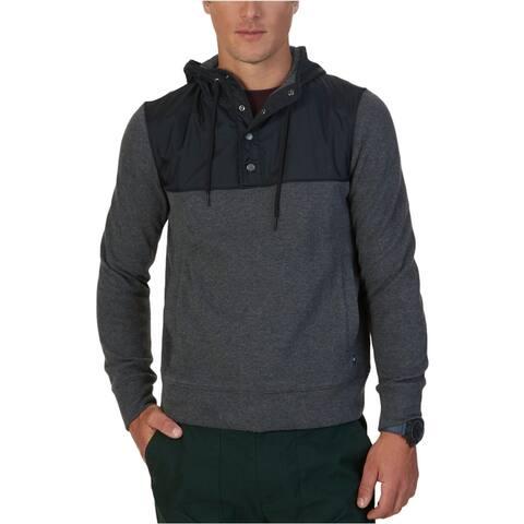 Nautica Mens Colorblocked Hoodie Sweatshirt, Grey, Medium