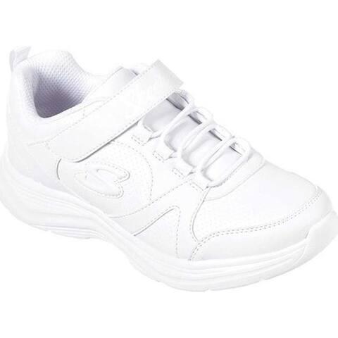 Skechers Girls' Glimmer Kicks School Struts Sneaker White