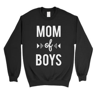 Mom Of Boys Mens/Unisex Black Fleece Sweatshirt Funny Gift For Moms