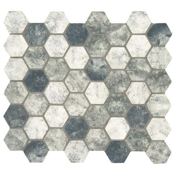 "MSI SMOT-GLS-U6MM 2"" x 2"" Hexagon Mosaic Tile - Glossy Glass Visual - Sold by Carton (14.7 SF/Carton) - Tapestry"
