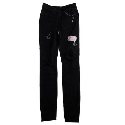 Vanilla Star Juniors Black Embroidered Mid Rise Skinny Jeans 3