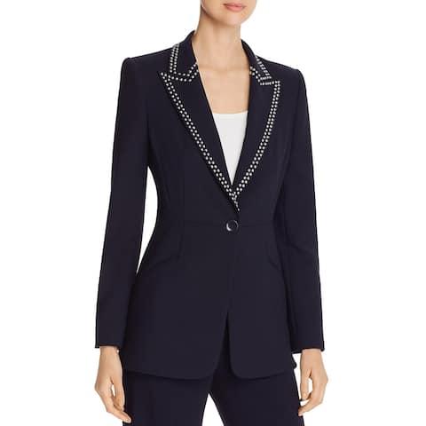 Elie Tahari Womens Madison One-Button Blazer Studded Suit Separate - Stargazer