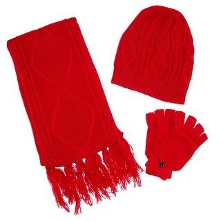CTM® Women's Cable Knit 3 Piece Winter Set - One size