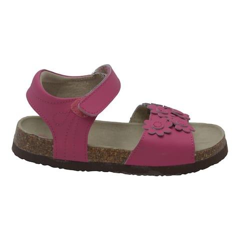 Girls Fuchsia Flower Accent Strap Cork Sandals 11-4 Kids