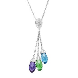 Crystaluxe Lariat Pendant Necklace with Swarovski Crystals in Sterling Silver - Multi-Color
