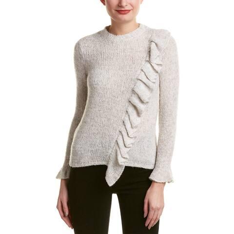 Rebecca Taylor Ruffle Wool-Blend Sweater - LIGHT GREY MELANGE